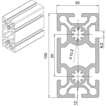 50 Series T-Slot Aluminium Extrusion Profile – HOONLY